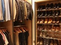 Dressing room with shoe rack.