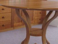 Round pedestal table.