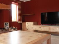 Large coffee table and matching TV unit in English Burr Oak.